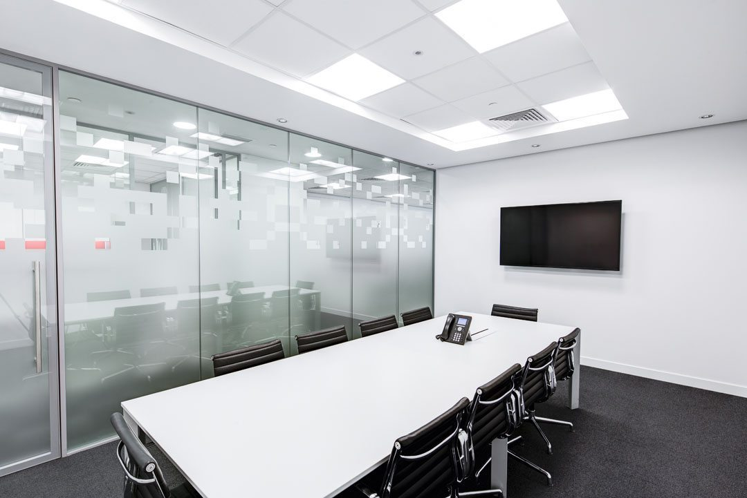 Empty Conference room with white interior and LED TV